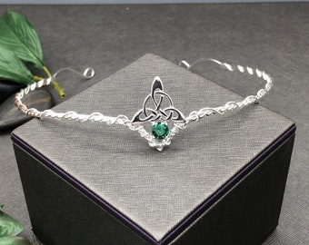 Celtic Tiara with Peridot in Sterling Silver, Artisan Bridal Circlet, Irish Diadems, Celtic Wedding Accessories, Gifts For Her