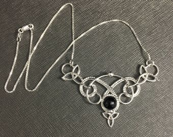 Celtic Bohemian Necklace in Sterling Silver, Irish Artisan Statement Necklace, Onyx Necklaces in Sterling Silver, Handmade