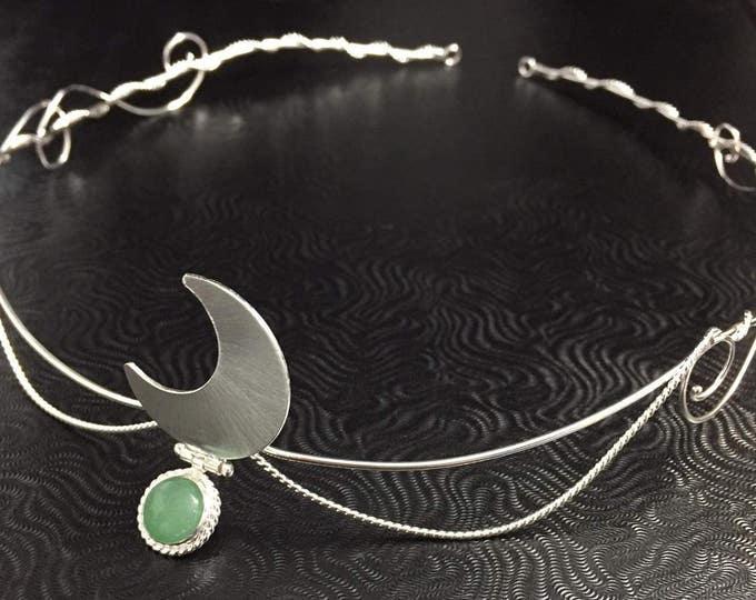 Goddess Crescent Moon Circlet, Moon Tiara with Gemstone, Renaissance Moon Circlet, Sterling Silver Wedding Bridal Headpiece with Moonstone