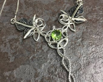 Fae Celtic Knot Leaf Necklace in Sterling Silver, Statement Renaissance Ivy Leaf Necklace, Irish Emerald Necklace Sterling Silver OOAK