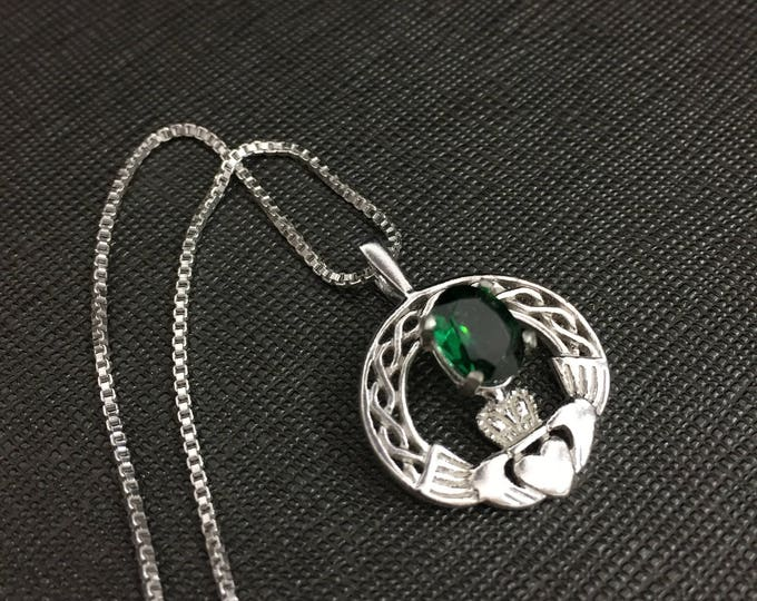 Claddagh Emerald Irish Necklace in Sterling Silver with included Box Chain, Celtic Claddagh Symbolic Jewelry, Gift for Her, Birthday
