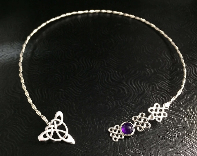 Celtic Neck Torc in Sterling Silver, Irish Neck Torque, Wedding Neck Torc,  OOAK Neck Torc, Handmade Neck Ring, Celtic Wedding Accessory