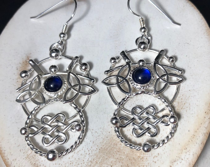 Celtic Knot Eternity Circles Earrings in Sterling Silver, Brutalist Jewelry, Celestial Artisan Abstract Earrings, Gifts For Her