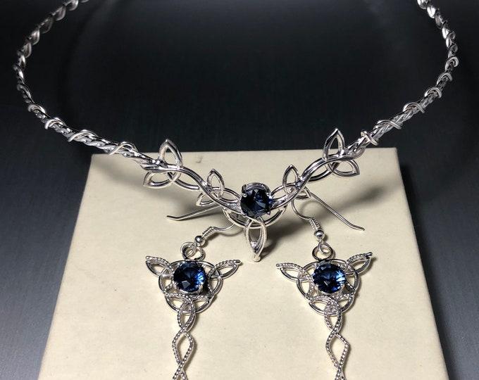 Celtic Knot Emerald Amethyst Sapphire Wedding Tiara and Earring Jewelry Set, Irish Bridal Set, Celtic Wedding Accessories, Bridal Sets