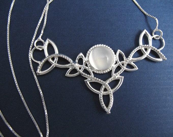 Irish Celtic Trinity Knot Moonstone Necklace with 16 Inch Box Chain, 925 Gemstone Celtic Wedding Necklaces, Irish Fae Cosplay Necklaces