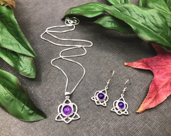 Celtic Knot Amethyst Earrings and Necklace Set Sterling Silver, Artisan Irish Earrings and Necklace Combo with Gemstone Choice, 925