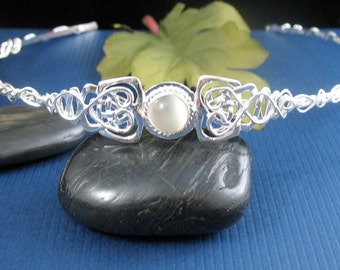Elvish Celtic Wedding Circlet, Celtic Tiara, Celtic Headpiece, Handmade, OOAK Celtic Circlet, Moonstone Celtic Headpiece, Sterling Silver