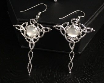925 Celtic Trinity Knot Earrings, 8mm Moonstones, Dangle Drop Sterling Silver Earrings, Boho Style Earrings Irish Earrings