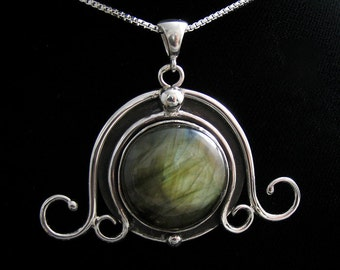 Labradorite Celtic Witchblade Pendant Necklace with 18 Inch Box Chain - Sterling Silver Handmade