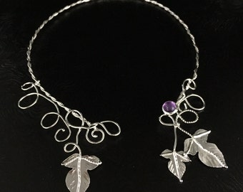 Fae Elvish Neck Torc, Sterling Silver Necklet, Woodland Leaves Neck Rings, Handmade One of a Kind Neck Torcs, Wedding Accessories, SCA