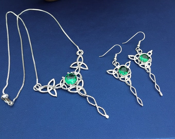 925 Celtic Irish Necklace and Earrings with Faceted Lab Emeralds, Trinity Knot Jewelry Set, 16 Inch Box Chain, Sterling Silver Handmade