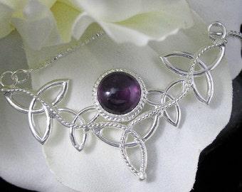 Celtic Irish Sterling Silver Necklaces, Celtic Trinity Knot Symbol Necklace, Gemstone Celtic Necklaces, Boho Necklace Sterling Silver