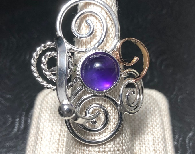 Bohemian Abstract Gemstone Ring in Sterling Silver and 14K Gold, Statement Rings, Abstract Swirl Ring with 8mm Cabochon, Art Nouveau Styles