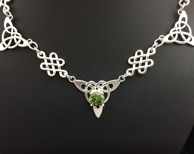 Celtic Irish Peridot Necklaces, 925 Gem Renaissance Irish Victorian Necklaces, Irish Celtic Necklaces,  Sterling Silver Box Chain, Handmade