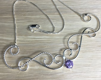 Bohemian Gemstone Necklace in Sterling Silver, Victorian Style Necklaces, Gifts For Her, Elvish Jewelry Designs