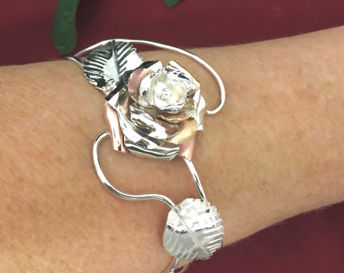Rose Floral Cuff Bracelet in Sterling Silver,  Artisan Statement Rose Petal Jewelry, Bohemian Wrist Jewelry with Floral Designs
