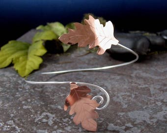 Oak Leaf Arm Torc, Fall Leaves Copper and Sterling Silver Upper Armlet Torc, Handmade Oak Arm Cuff Bracelet,  Upper Arm Cuff