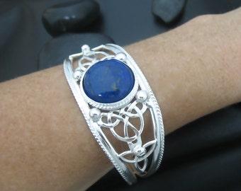 Celtic Bracelet Cuff, Handmade Heavy Bracelet Cuff, Sterling Silver Bracelet, Large Bracelet Cuff, Celtic Knot Bracelet, Handmade OOAK Cuff