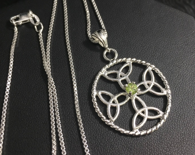 Celtic Dara Knot Gemstone Necklaces in Sterling Silver. Irish Weddings, Symbolic Necklaces, Celtic Symbolic