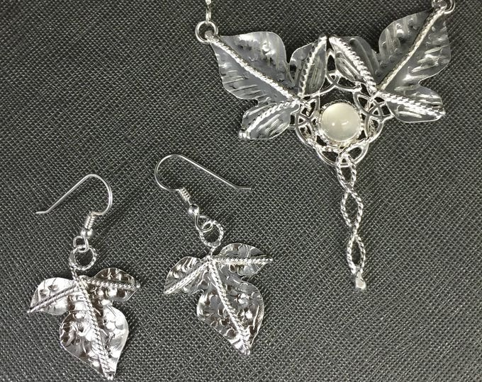 Woodland Leaves Moonstone Necklace and Matching Leaf Earrings Set in Sterling Silver, Artisan Jewelry Sets, Gifts For Her, Holidays