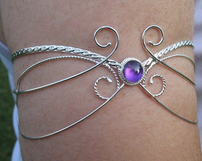 Upper Arm Bracelet in Sterling Silver, Upper Armlet Cuff, Elvish Renaissance Arm Torc, Wedding Accessory