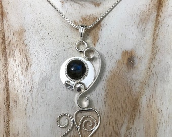 Art Nouveau Abstract Amethyst Necklace in Sterling Silver Bohemian Necklaces with Gemstones, Labradorite and Moonstone in Sterling Silver