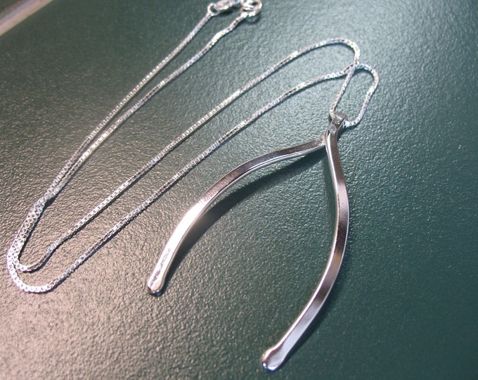 Large Wishbone Luck Necklace in Sterling Silver, Gifts For Her, Statement Necklace, Wishbone Good Luck Necklaces