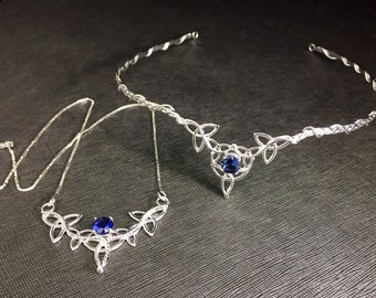 Tiara and Necklace Sapphire Emerald Topaz Set, Irish Trinity Knot Wedding Diadems, Handmade Celtic Knot Necklace, Gifts For Her