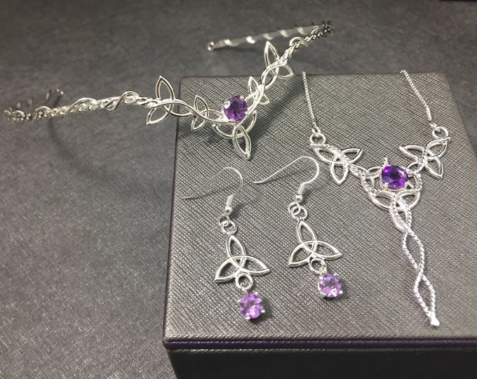 Celtic Knot Wedding Tiara, Necklace and Earring Jewelry Set, Irish Bridal Set, Celtic Wedding Accessories, Bridal Sets