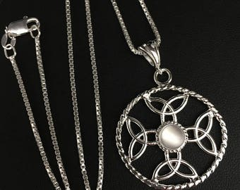 Celtic Eternity Gemstone Trinity Knot Necklace with 18 Inch Box Chain, Handmade Irish Celtic Knot Necklace, Irish Necklaces,  Irish Pendants