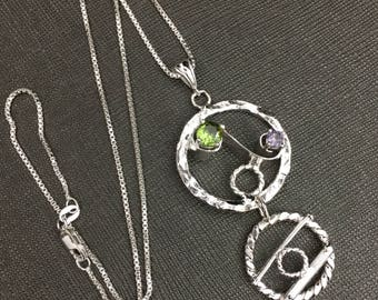 Bohemian Eternity Circle Gemstone Necklace in Sterling Silver, Art Nouveau Statement Necklace with Faceted Gemstone, OOAK