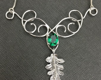 Elven Woodland Renaissance Necklace, Large Statement Wire Work Leaf Necklace, Sterling Silver Art Nouveau Gemstone Necklace with Box Chain
