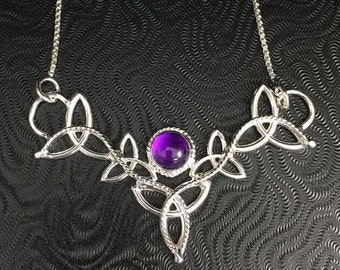 Amethyst Celtic Knot Necklace in Sterling Silver, Irish Necklaces, Gifts For Her, Anniversary, Handmade Statement Necklaces