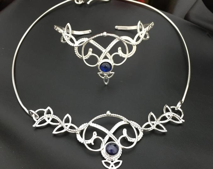 Artisan Bohemian Jewelry Set Handmade in Sterling Silver, Neck Ring,  Bracelet Cuff, Matching Earrings