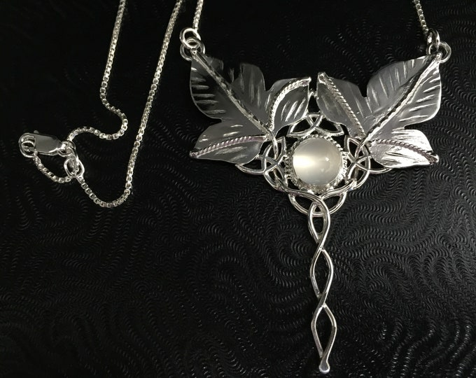 Statement Woodland Celtic Moonstone Necklace in Sterling Silver, Leaf Bohemian Necklace, Large Necklaces, Handmade Statement Necklaces