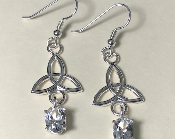 White Topaz Dangle Drop Celtic Earrings, Irish Trinity Knot  Drop Earrings, Sterling Silver Bohemian Earrings, Earrings, Trinity Knots