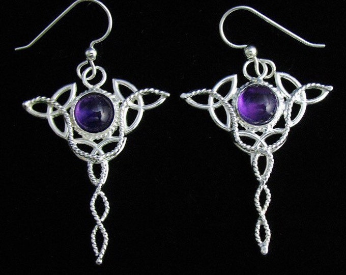 Celtic Trinity Knot Earrings with 8mm Amethyst Gemstone, Long Statement Dangle Celtic Earrings, Irish Wedding, Celtic Jewelry Accessories