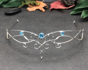 Fae Elven Wedding Tiara, Fantasy Bridal Circlet in Sterling Silver, Elvish Circlet, Hair Accessory Jewelry, Bridal Circlet