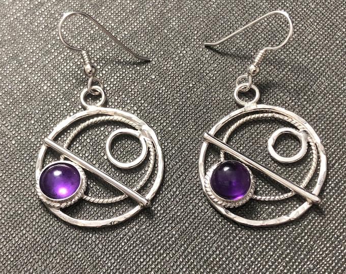 Amethyst Hoop Earrings in Sterling Silver, Celestial Earrings, Artisan Silver Circle Earrings, Eternity Circle Double Hoop Earrings, Hoops