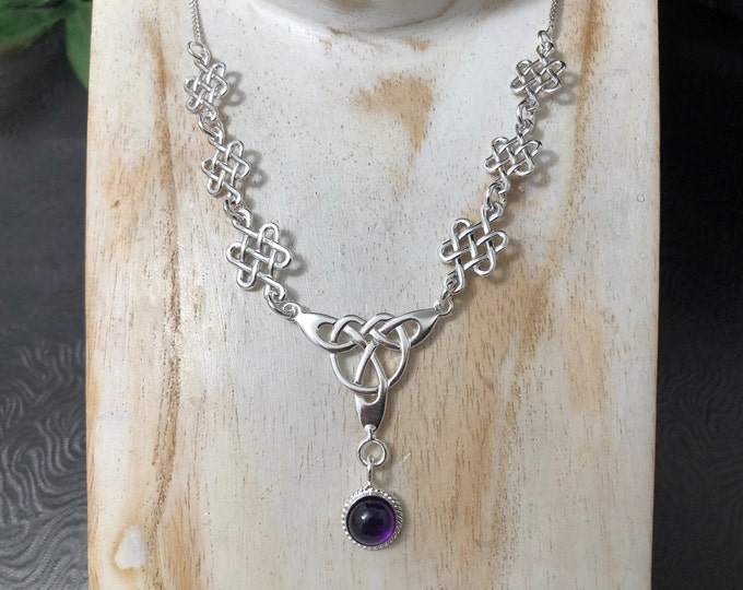 Celtic Knot Gemstone Necklace Sterling Silver With 16 Inch Box Chain Attached, Irish Bridal Necklace with 8mm Gemstone, Handmade 925, OOAK