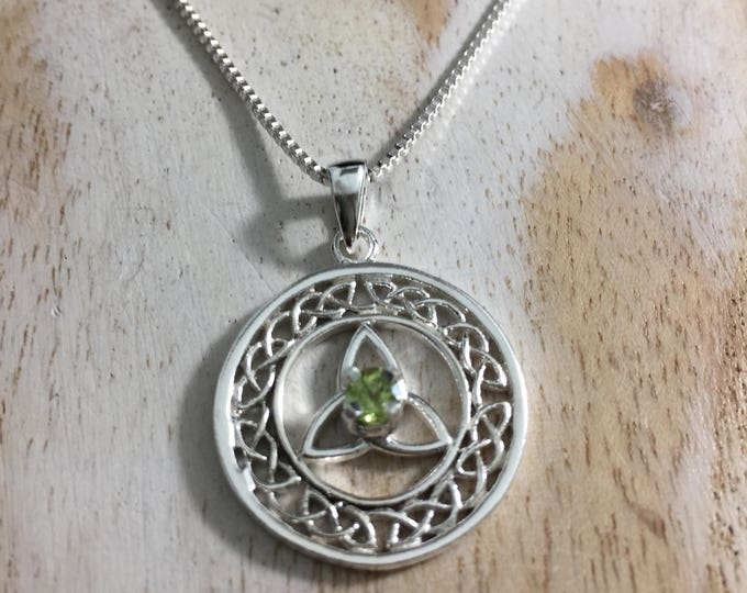 Celtic Trinity Knot Gemstone Necklace In Sterling Silver, Irish Necklace, Gifts For Her
