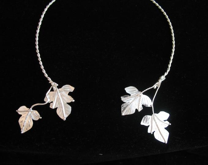 Ivy Leaf Elvish Woodland Sterling Silver Leaves Neck Torc, Sterling Neck Torcs, OOAK Leaf Inspired Necklet and Neck Rings, Bohemian Torcs