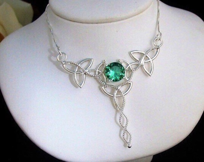 Emerald Celtic Necklace, Trinity Knot Necklace, Irish Emerald Necklace, Handmade Celtic Necklace, Sterling Silver, Gifts For Her