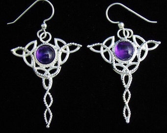 Celtic Trinity Knot Drop Earrings with 8mm Amethyst Gemstone, Handmade Celtic Earrings, Irish Wedding, Celtic Jewelry Accessories