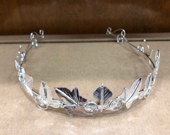 Woodland Leaves Sterling Silver Wedding Circlet, Bridal Wedding Crown With Ivy Leaves,  Leafy Tiara, OOAK Handmade 925 Elvish Circlets