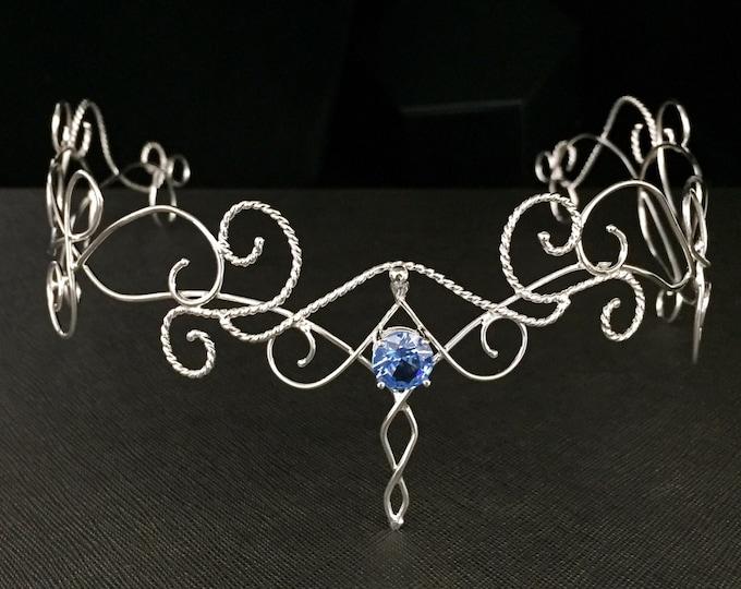 Circlets, Elvish Wedding Gemstone Tiara in Sterling Silver, Renaissance Circlets, Artisan Bridal Tiara, Gifts For Her, Wedding Accessories