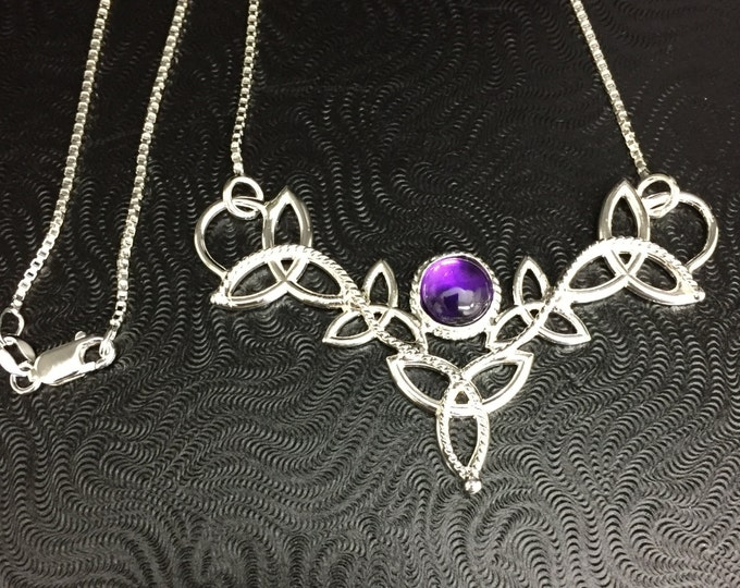 Celtic Trinity Knot 8mm Amethyst Necklace with Box Chain, Irish Symbolic Necklaces, Gifts For Her, Handmade