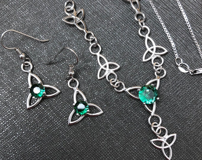 Celtic Necklace and Earrings Set, Gifts For Her, Trinity Knot Gemstone Necklace, Boho 18 Inch Necklace, 925 Sterling Silver Necklaces