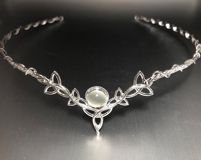 Celtic Knot Moonstone Bridal Circlet, Irish Diadem with White Moonstone, Handmade Celtic Wedding Tiara, Cosplay Headpieces, Gifts For Bride