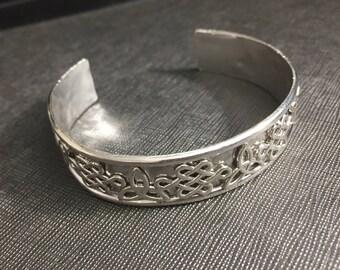 Statement Irish Bracelet Cuff, Celtic Triquettra Solid Cuff Bracelet, Sterling Silver Celtic Symbolic Bracelet, Silver Cuff Bracelet 925